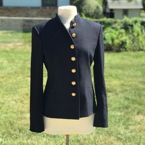 Lauren Ralph Lauren Navy Gold Button Blazer